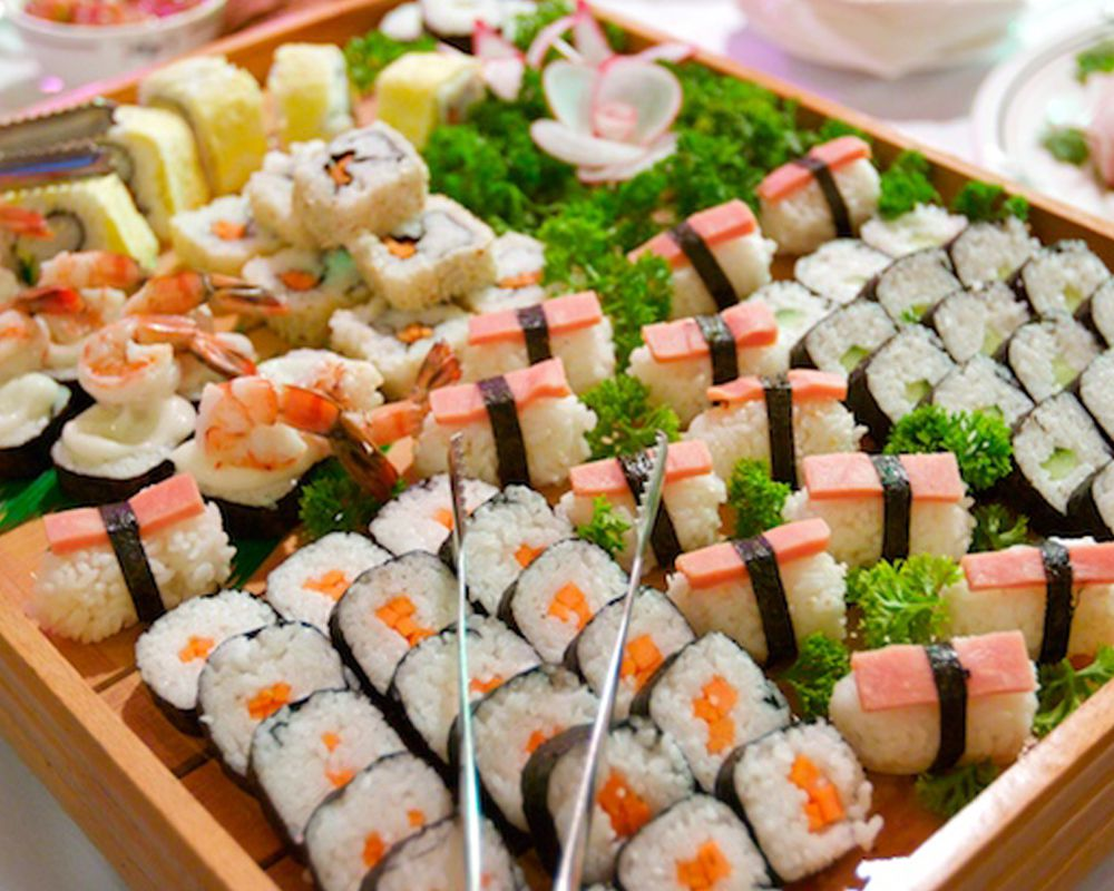 Asian favorites including Sushi